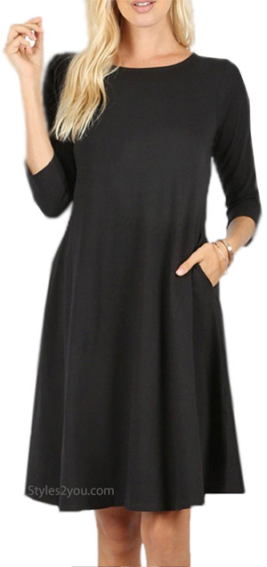 Dayna 3/4 sleeve cotton dress with pocket in black