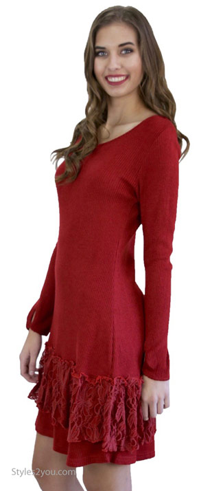 Margaret sweater dress extender with lace trim in dark red