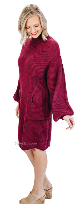 Mateo cozy mock neck sweater knit dress with pockets in plum