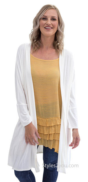 Sibyl long sleeve Honeyme plus-size open cardigan