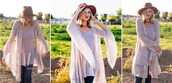 Edna bell-sleeve crochet bohemian hippy cardigan