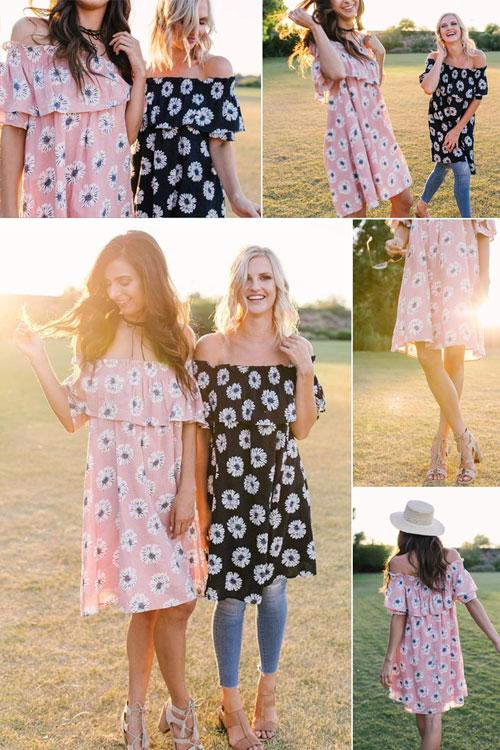 Easel off-the-shoulder summer dresses