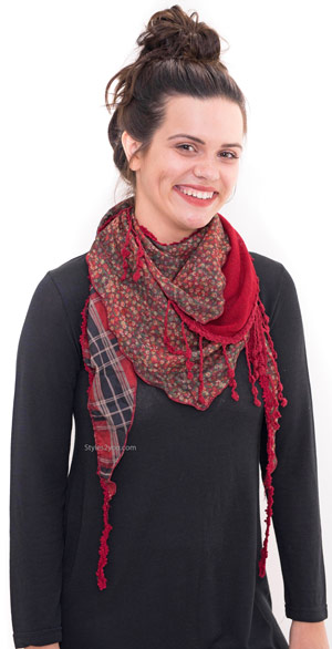 grace vintage victorian layered scarf with tie in red