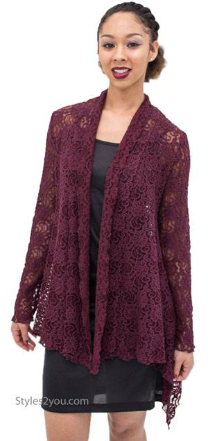 maya victorian modern vintage lace cardigan in burgundy