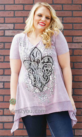 Ria plus size tunic in mauve