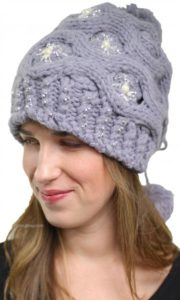 knit hat with rhinestones